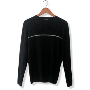 LAST CHANCE!! Black ribbed sweater w gray stripe